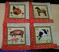 Handmade Quilted Coasters Winter Forest Set of 4 Made in Newfoundland Mug Mats