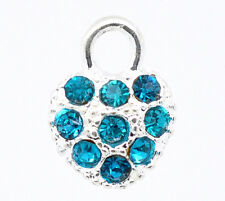 5 SILVER PLATE TEAL BLUE CRYSTAL HEART CHARM/PENDANT~14x10mm~Embellishment(33F)