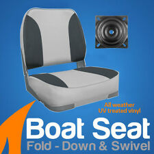 Deluxe Boat Seat Grey/Charcoal With Swivel Marine Fishing Chair