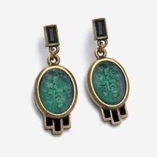 NEW SWEET ROMANCE ART DECO GREEN JADEITE GLASS EARRINGS~~MADE IN USA~~