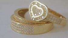 3 band heart gold plated .925 Sterling Silver cocktail Ring Cz Stones Size 6
