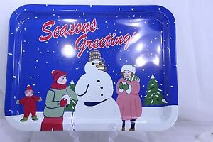 Seasons Greetings Snowman Scene Vintage reproduction Serving Tray 1950s