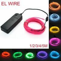 1-5M EL Wire LED Light Glow Neon Strip Lamp Garden Rope Battery Party Decor #L2