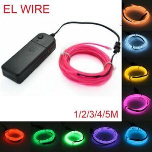 1-5M EL Wire LED Light Glow Neon Strip Lamp Garden Rope Battery Party Decor #L3