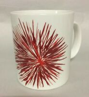 Starbucks 2014 Mug 12 oz Red Star Burst Holiday Flower Fireworks Coffee Cup