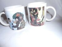 Set of 2 Norman Rockwell Family Trust Christmas Coffee Mugs / Cups