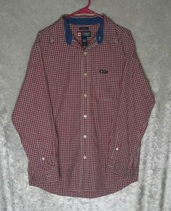 Chaps Easy Care Men's  Red Striped Long Sleeve Button Shirt Size M THB4