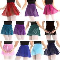 Adult Women Chiffon Ballet Dance Wrap Skirt Lace Tutu Skirt Skating Scarf Dress