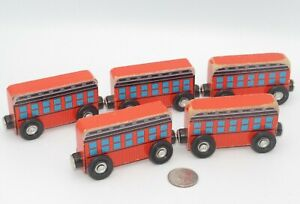 Melissa & Doug Wooden Orange Train Car Lot x5 Bus  Works w/ Thomas Railway, BRIO