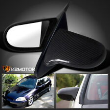 For 1996-2000 Honda Civic EK Real Carbon Fiber Spn Side Mirrors Manual Pair