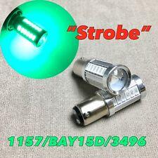 Strobe Front Turn Signal Light 1157 2057 3496 BAY15D Green LED Bulb W1 JA