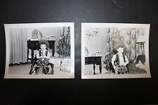 2 50s 60s Original B&W Snapshot Photos Christmas Presents Boy in Cowboy Outfit