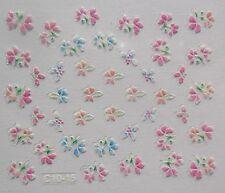 Accessoire ongles nail art Stickers autocollants- fleurs roses et bleues