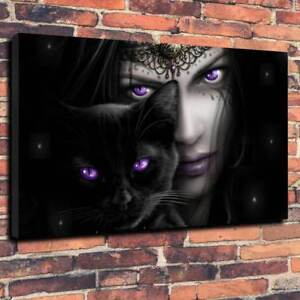 """Witches Black Cat Printed Canvas Picture A1.30""""x20"""" Deep 30mm Frame Gothic Wicca"""
