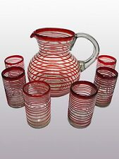 Mexican Glassware - Ruby Red Spiral pitcher and 6 drinking glasses set