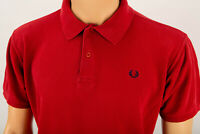FRED PERRY RED POLO Men's SHORT SLEEVE Casual Shirt Size M 100%Cotton Pique
