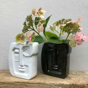 Abstract Stoneware Glazed Face Head Vase in WHITE / Perfect for Dried Flowers