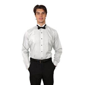 Men's White Tuxedo Shirt with Wing Tip Collar