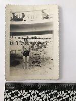 Vintage 40s Man Snapshot Photo Bathing Trunks Shirt Under Bridge Beach Scene D3