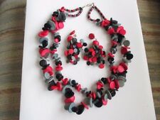 painted wood bead necklace & earring set  black red gray larger disks