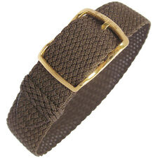 14mm EULIT Kristall Brown Woven Nylon Perlon GOLD Buckle German Watch Band Strap