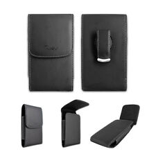 Black Leatherette Case Pouch Holster with Belt Clip for Cricket HTC Desire 555