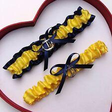 New Yellow Navy Blue  Wedding Garter US Navy Nautical Garter Marine Military