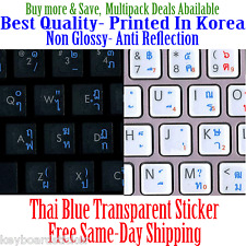 Thai Transparent Keyboard Sticker Blue letters Printed in Korea,Best Quality