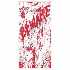 Bloody Hand Print Beware Door Cover - 152 x 76 cm - Halloween Party Decoration