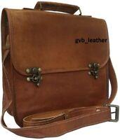 """16"""" Leather Vintage Messenger Shoulder Men's C Lock Satchel Laptop Briefcase Bag"""