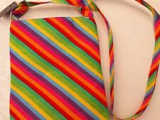 BNWT Accessories Multi Colour Rainbow Design Cotton Canvas Cross Body/Hip Bag