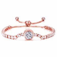 Wedding Bridal Crystal Rhinestone Rose Gold Bracelet Bangle Women Jewelry Charm