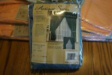 ANTIQUE SATIN ONE PAIR SLATE BLUE CURTAINS NEW IN PACKAGE HEAVY DRAPERIES
