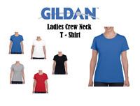 Gildan Ladies Casual Work Cotton T-Shirt Cap Sleeves Soft T Shirt Semi Fit TOP