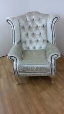 Queen Anne style chair in Ivory Velvet