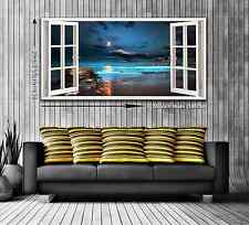 3D Moonlit Sea Window View Panoramic Trendy Canvas Print - 2 Sizes Ready to Hang