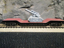 N Scale Army-1- New Haven Depressed flatcar with railgun/mortar load (ER-6-MT)