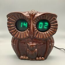 More details for vintage ussr ceramic owl alarm wall clock gwo, retro rare collectable clock