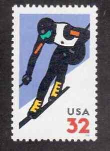 Scott #3180...32 Cent... Skier ...3 Stamps