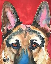German Shepherd 11x14 signed art PRINT painting RJK