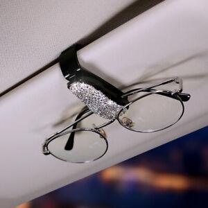 Bling Rhinestone Car Sun Visor Glasses Clip Accessories Silver/Pink Woman