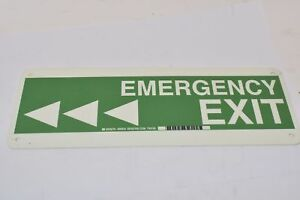 NEW BRADY 90924 GLOW-IN-THE-DARK PLASTIC SIGN Exit Sign Emergency