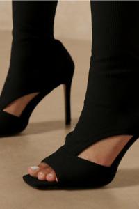 Autumn and Winter New Ladies Fashion Round Toe Stiletto High Heel Open Toe Boots
