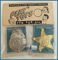 Vintage Police & Sheriff Toy Badges With Whistle - Play Toys - NIP     (J512)