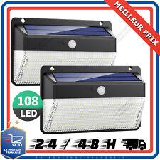 x2 Lampe Solaire Détecteur De Mouvement Spot Extérieur Etanche  270° 108 Led