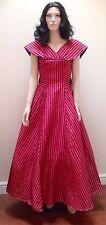 1950S Shocking Pink Taffeta And Flocked Velvet Ballgown S-M
