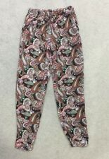 Mela London Trousers 8 Boho Harem Tapered Paisley Holiday Festival Casual Comfy