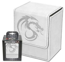 BCW White Leatherette Deck Box with 80 Matte Deck Sleeves Protectors Magnetic