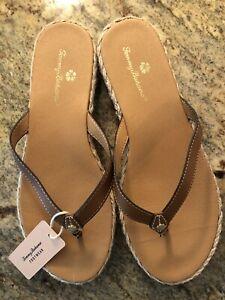 NWT Tommy Bahama Flip Flop Sz 7.5 Thong Sandals THOMAS Tan Jute