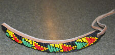 Vintage Swaziland AFRICAN black red yellow green TRIBAL leather tie BRACELET NEW